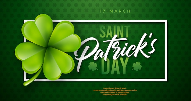 Projeto do dia de são patrício com folha de trevo sobre fundo verde. ilustração de férias celebração irlandesa cerveja festival com tipografia e trevo