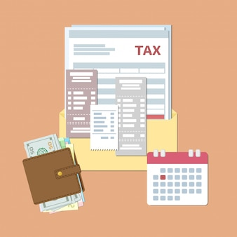 Projeto do dia do imposto. pagamento estado impostos e faturas. abra o envelope com impostos, cheques, contas, bolsa com dinheiro, calendário com data vermelha. ilustração plana.