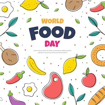 Projeto do dia mundial da comida desenhado à mão