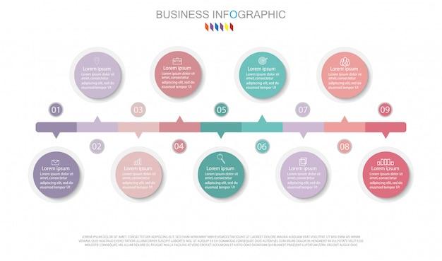Projeto do diagrama de infographic conceito do negócio com 9 opções.