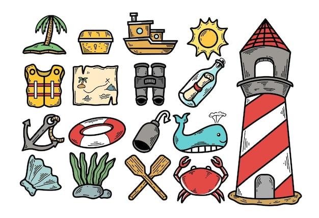 Projeto do doodle do equipamento para férias na praia