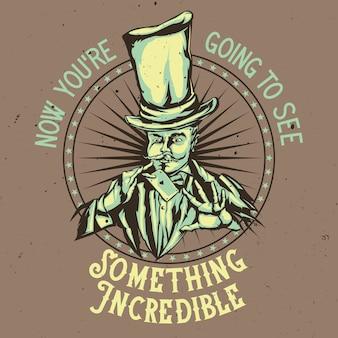 Projeto do emblema com ilustração do mágico no chapéu com cartão nas mãos