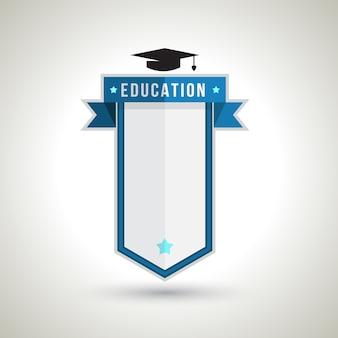 Projeto do emblema da educação para criar o plano do estudo