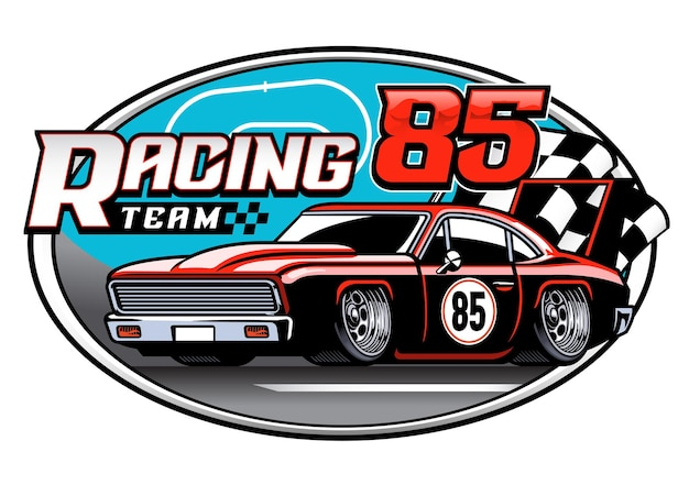 Projeto do emblema da equipe de carros de corrida
