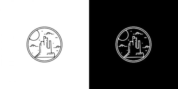 Projeto do emblema do deserto do vintage de monoline