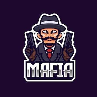 Projeto do emblema do logotipo da equipe de esporte eletrônico do gangster da máfia