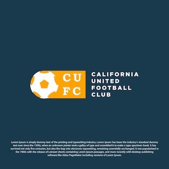 Projeto do emblema do logotipo do clube de futebol com bola ilustração do vetor do emblema do esporte design minimalista
