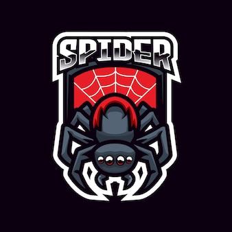 Projeto do emblema do logotipo do time de e-sport da spider