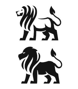 Projeto do emblema preto do mascote do leão.