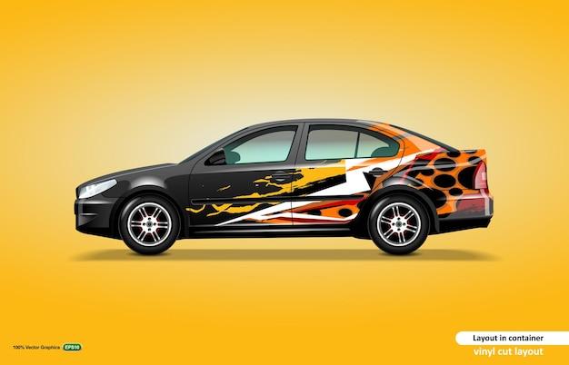 Projeto do envoltório do decalque do carro com tema de cor abstrata no carro sedan preto.