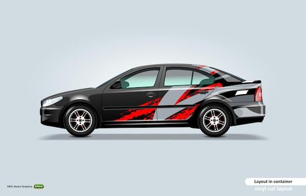 Projeto do envoltório do decalque do carro com tema de listra abstrata no carro sedan preto.