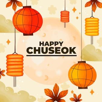 Projeto do festival chuseok desenhado à mão