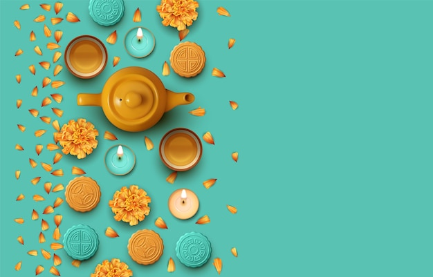 Projeto do festival de outono. bule, xícaras de chá, flores e bolos lunares. ilustração da vista superior