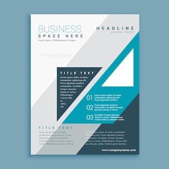 Projeto do folheto do negócio a4 com formas grometric azuis