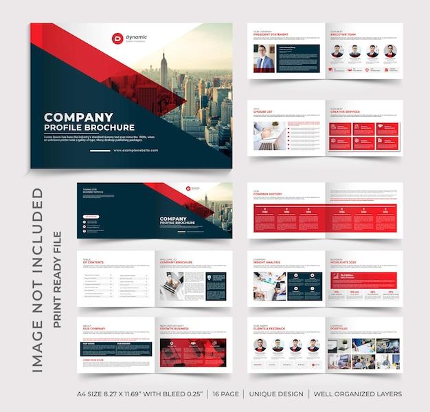 Projeto do folheto do perfil da empresa com paisagens, folheto com várias páginas