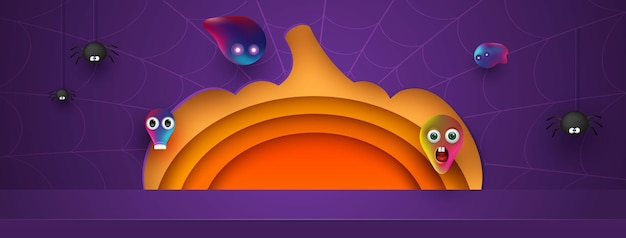 Projeto do fundo da abóbora de halloween com exposição de produto púrpura do pódio. aranhas e fantasmas amigáveis. fundo do molde da forma geométrica mínima abstrata da arte do papel 3d. ilustração em vetor.