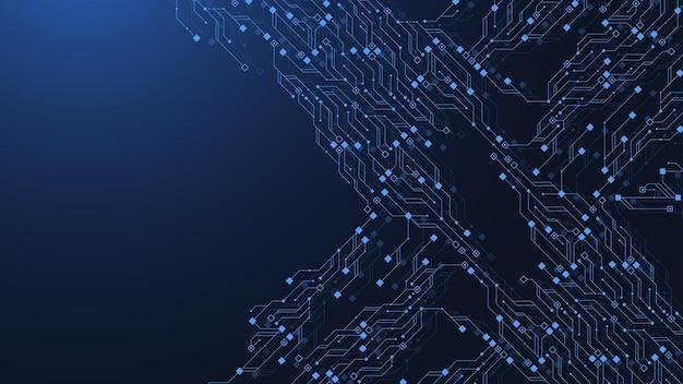 Projeto do fundo da textura da placa de circuito da tecnologia. fundo azul futurista da placa de circuito. placa-mãe de vetor mínimo.