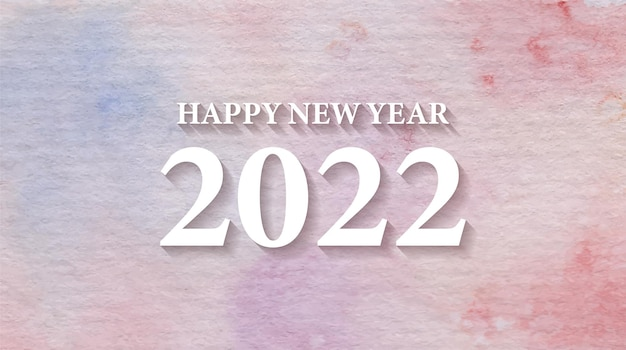 Projeto do fundo da tipografia do texto da aquarela feliz ano novo 2022