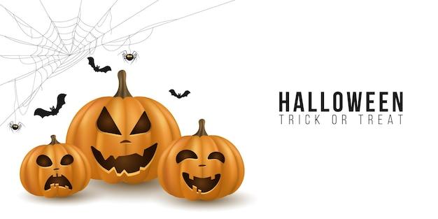 Projeto do fundo de halloween com abóboras de desenhos animados emocionais 3d em fundo branco. capa para férias. doçura ou travessura. teia de aranha com aranha e morcegos. ilustração vetorial