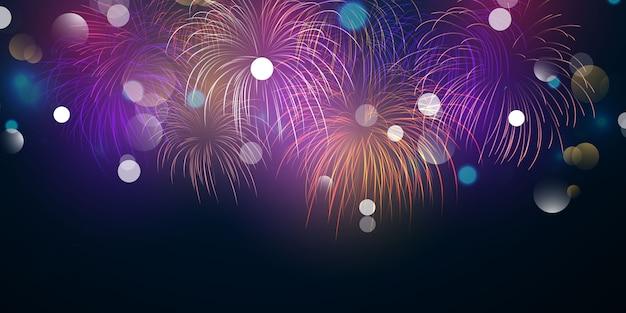 Projeto do fundo do natal colorido do fogo de artifício com o tema da celebração da festa feliz ano novo.