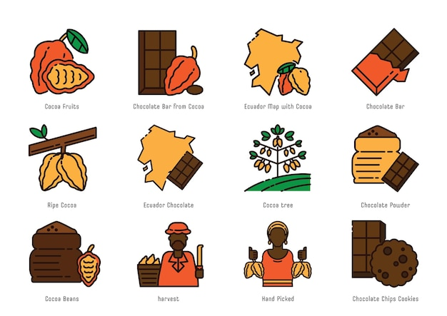 Projeto do ícone da linha de cores de origem do cacau equador com mapa do equador, frutos do cacau, árvore, feijão e colheita com palhetas manuais.