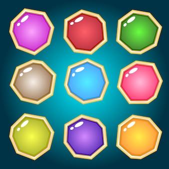 Projeto do ícone de cores diferentes de pedras preciosas de joias. Vetor Premium