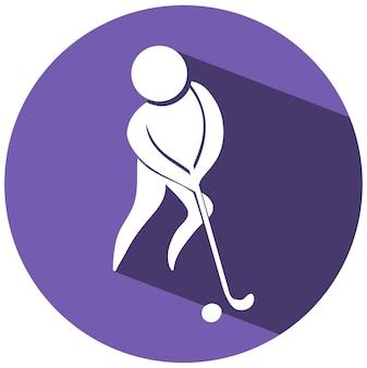 Projeto do ícone do esporte para hóquei terrestre em etiqueta redonda