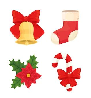 Projeto do ícone do feliz natal, temporada de inverno e decoração