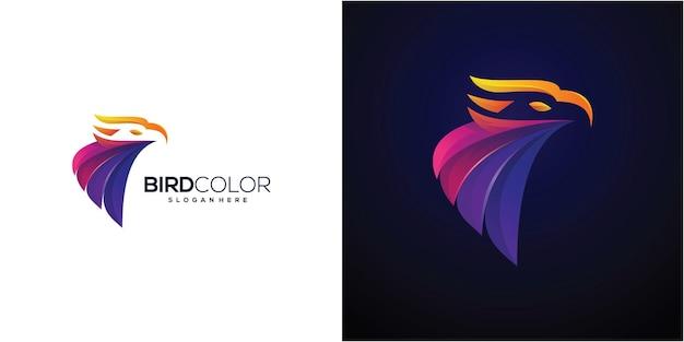 Projeto do ícone do logotipo da águia, cabeça do falcão, cor completa do vetor