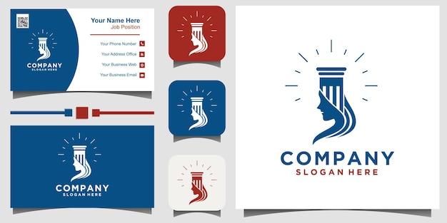 Projeto do ícone do logotipo do escritório de advocacia. legal universal, advogado com fundo de modelo de cartão de visita