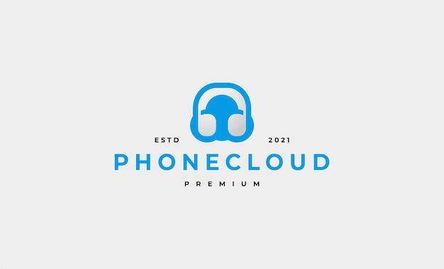 Projeto do ícone do logotipo do fone de ouvido na nuvem