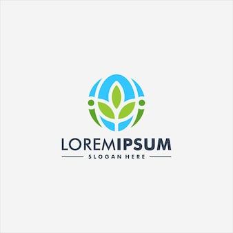 Projeto do ícone do logotipo do vetor da flor da árvore abstrata