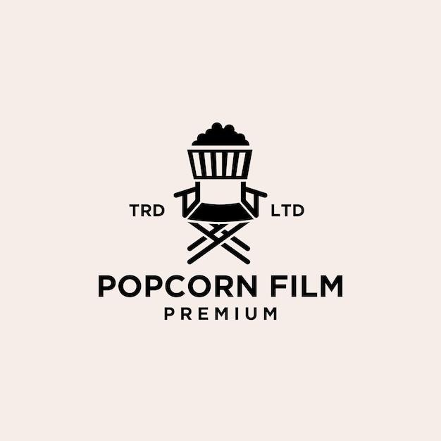 Projeto do ícone do logotipo preto do vetor do filme de cinema pipoca premium