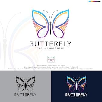 Projeto do ícone do modelo do logotipo da borboleta da beleza.