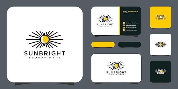 Projeto do ícone do vetor do logotipo da sun linear