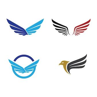 Projeto do ícone do vetor do modelo de logotipo da asa