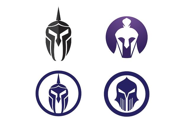 Projeto do ícone do vetor do modelo de logotipo do capacete espartano