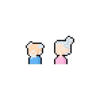 Projeto do ícone dos idosos dos desenhos animados da arte pixel.