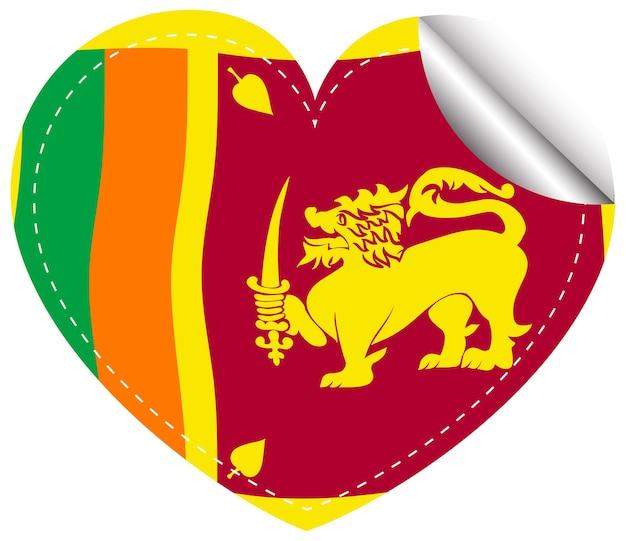 Projeto do ícone para a bandeira do sri lanka em forma de coração
