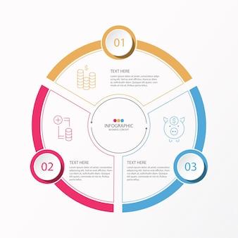 Projeto do infográfico de círculos com linha fina e 3 opções ou etapas