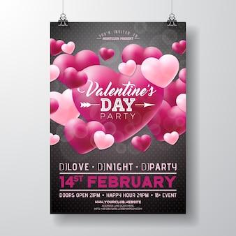 Projeto do insecto do partido do dia de valentim do vetor com amor você tipografia e coração