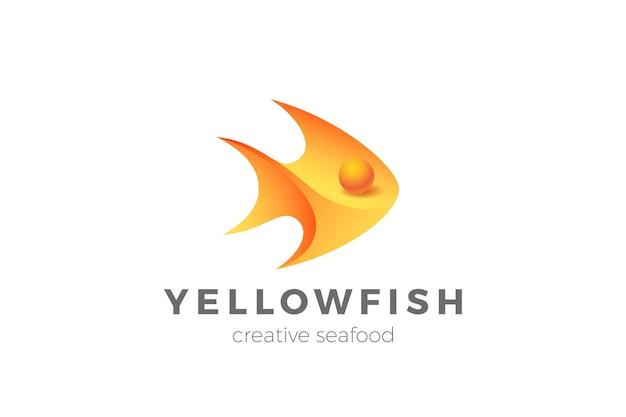 Projeto do logotipo 3d do peixe. logotipo da loja de restaurantes de frutos do mar
