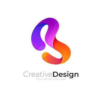 Projeto do logotipo b e vetor 3d colorido e estilo simples