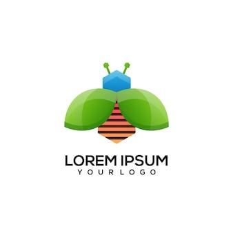 Projeto do logotipo da abelha colorido
