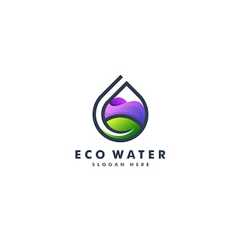 Projeto do logotipo da água e da folha. logotipo da natureza