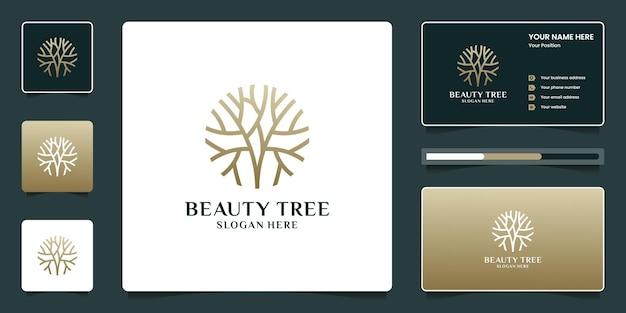 Projeto do logotipo da árvore da beleza com cartão de visita