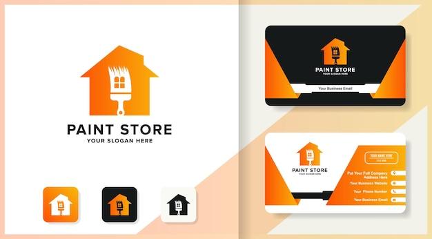 Projeto do logotipo da casa do pincel de formas e cartão de visita
