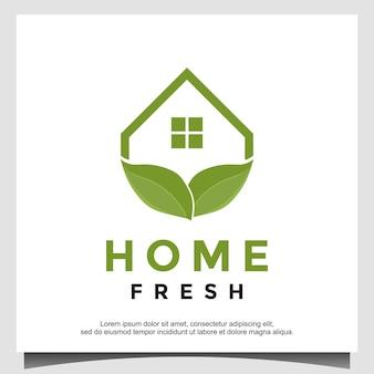 Projeto do logotipo da casa folha verde inspiração