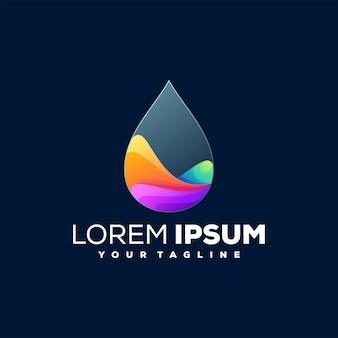 Projeto do logotipo da cor gradiente da gota