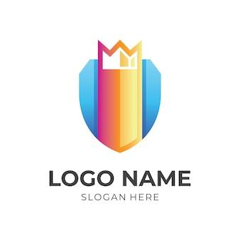 Projeto do logotipo da coroa e escudo, ícones coloridos 3d